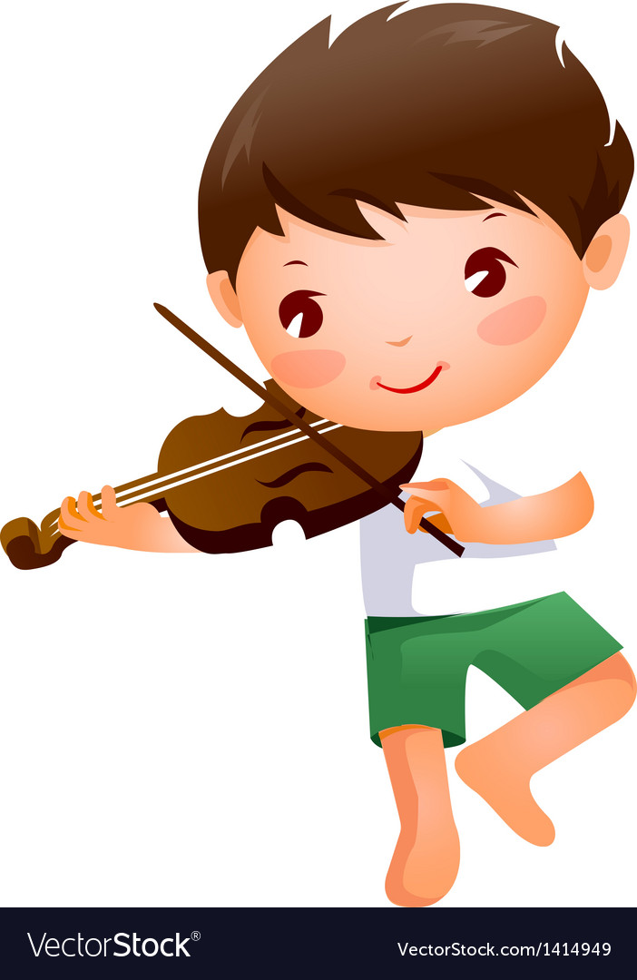 Close-up of boy holding violin vector | Price: 1 Credit (USD $1)