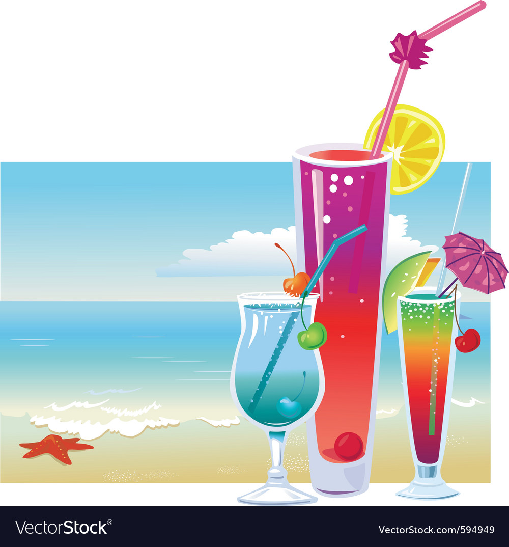 Cocktails on the beach vector | Price: 3 Credit (USD $3)