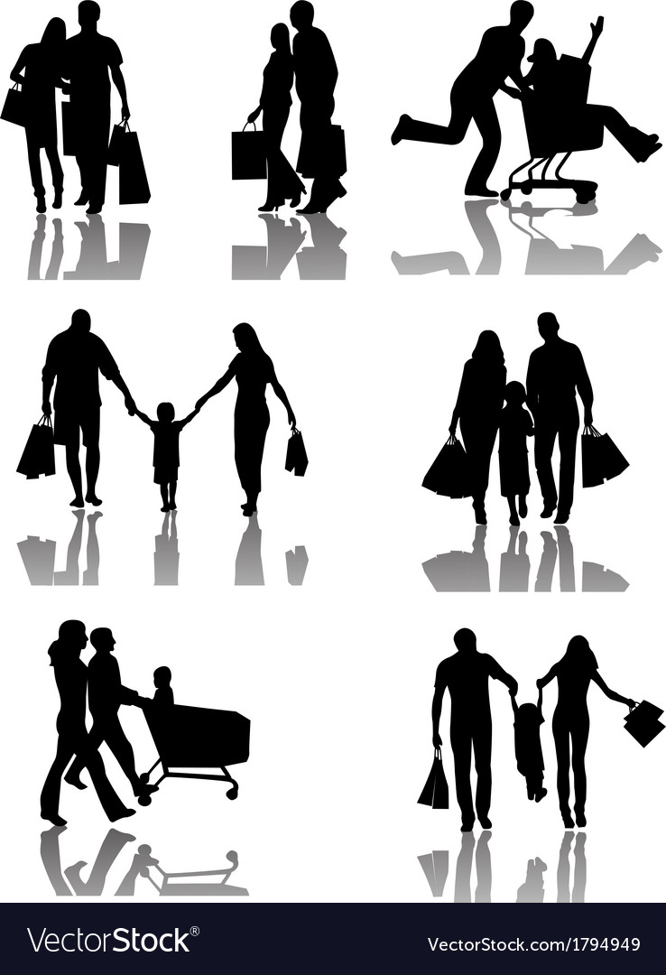 Family shopping silhouettes with shadow vector | Price: 1 Credit (USD $1)