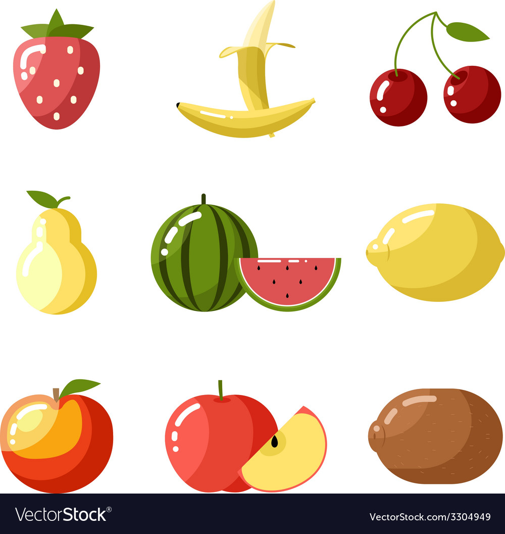 Flat design icons fresh fruit apple cherry vector | Price: 1 Credit (USD $1)