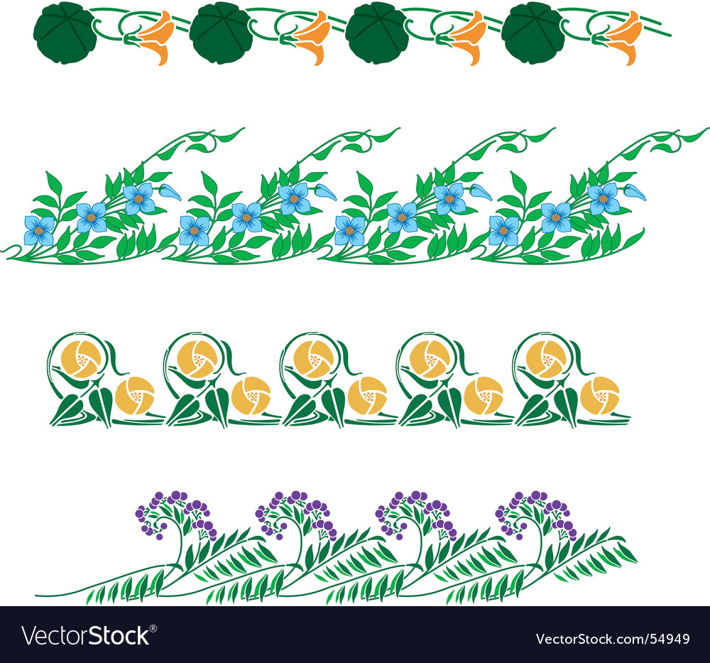 Floral border collection vector | Price: 1 Credit (USD $1)