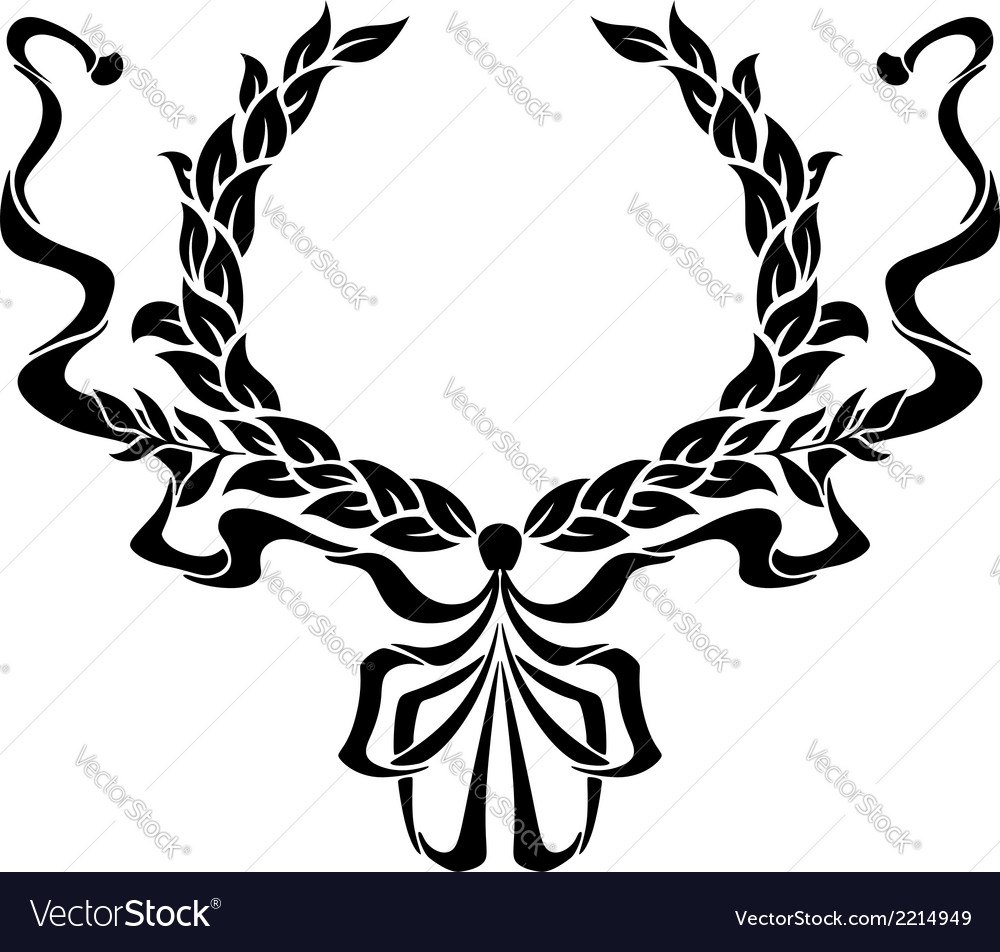 Foliate circular wreath with ornate ribbons vector | Price: 1 Credit (USD $1)