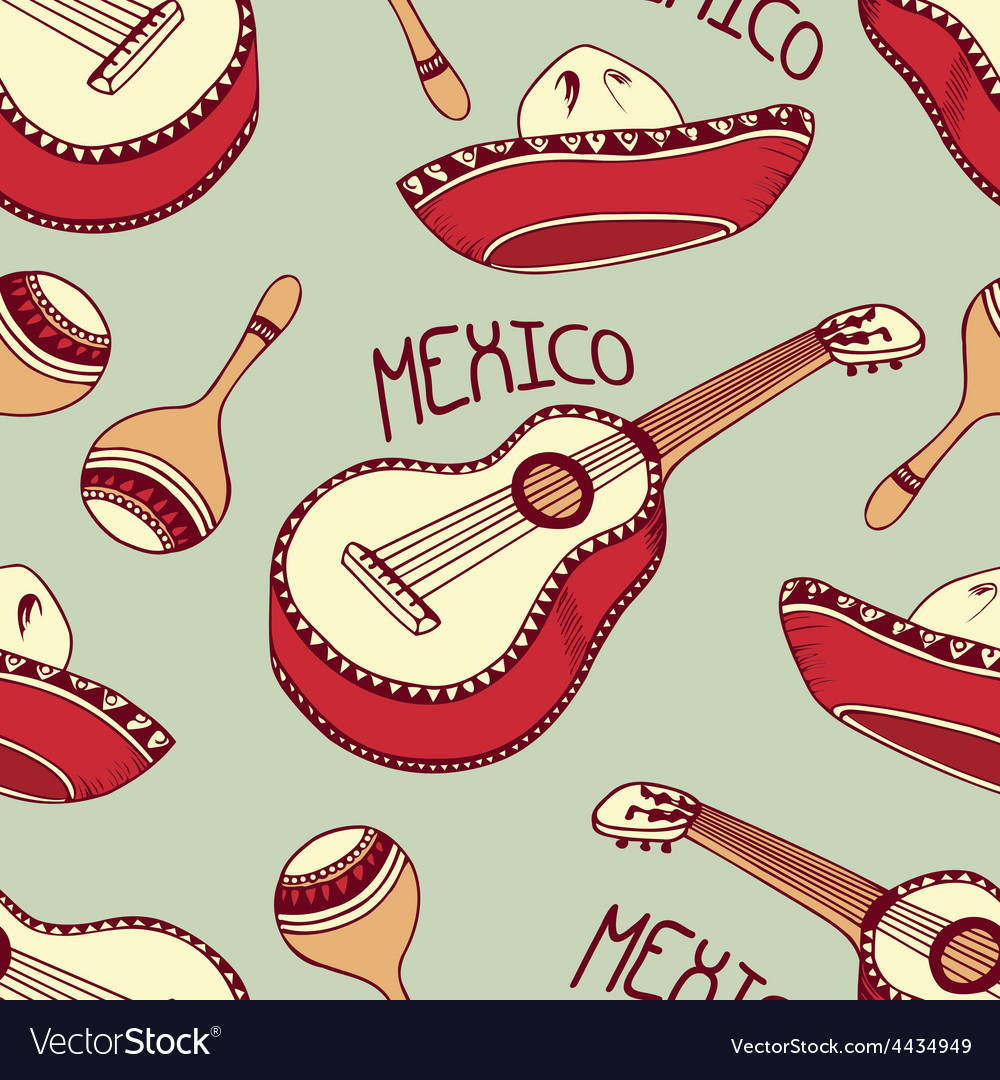 Hand drawn mexican seamless pattern with sombrero vector | Price: 1 Credit (USD $1)