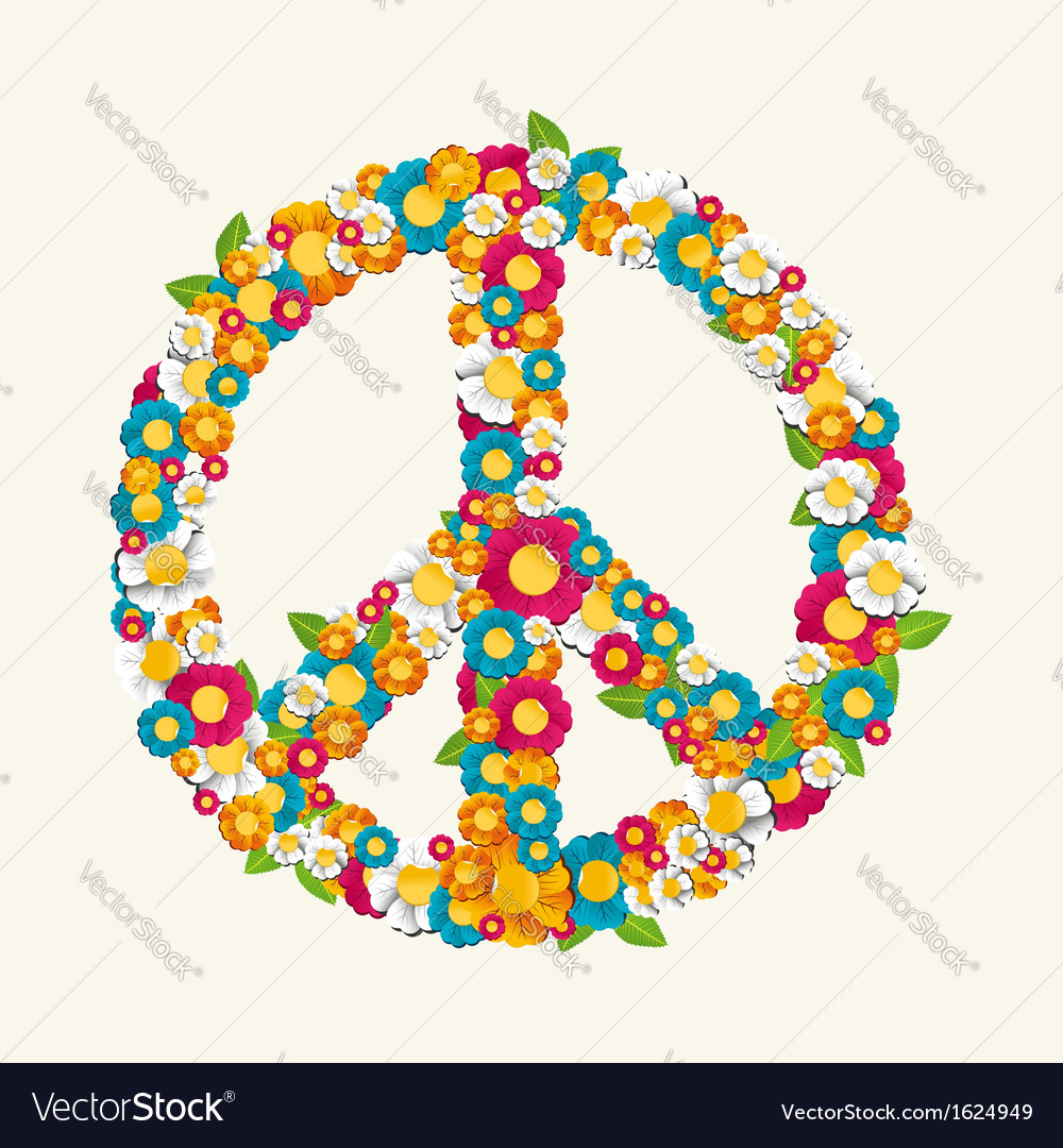 Isolated peace symbol made with flowers vector | Price: 1 Credit (USD $1)
