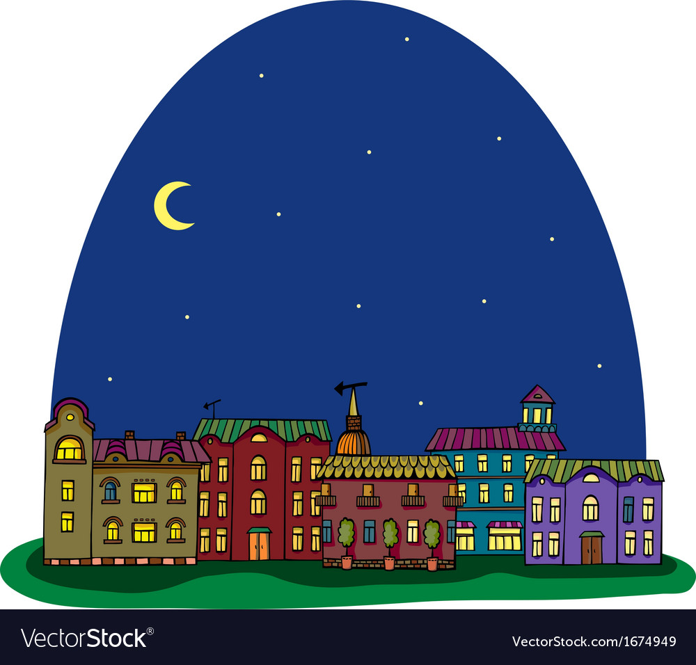 Night city view vector | Price: 1 Credit (USD $1)