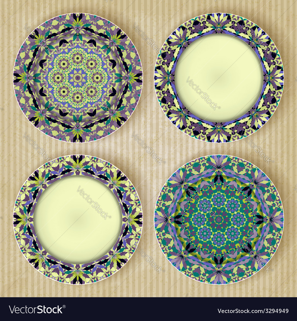 Plates with kaleidoscope pattern set vector | Price: 1 Credit (USD $1)