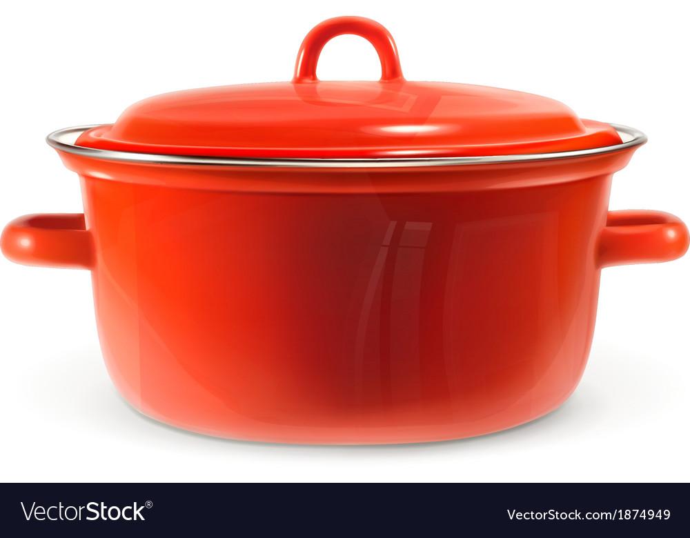 Red saucepan photo realistic vector   Price: 1 Credit (USD $1)