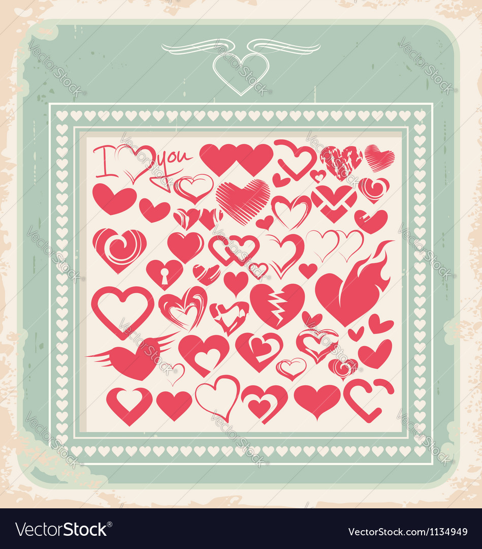 Retro poster with heart icons for valentines day vector | Price: 1 Credit (USD $1)