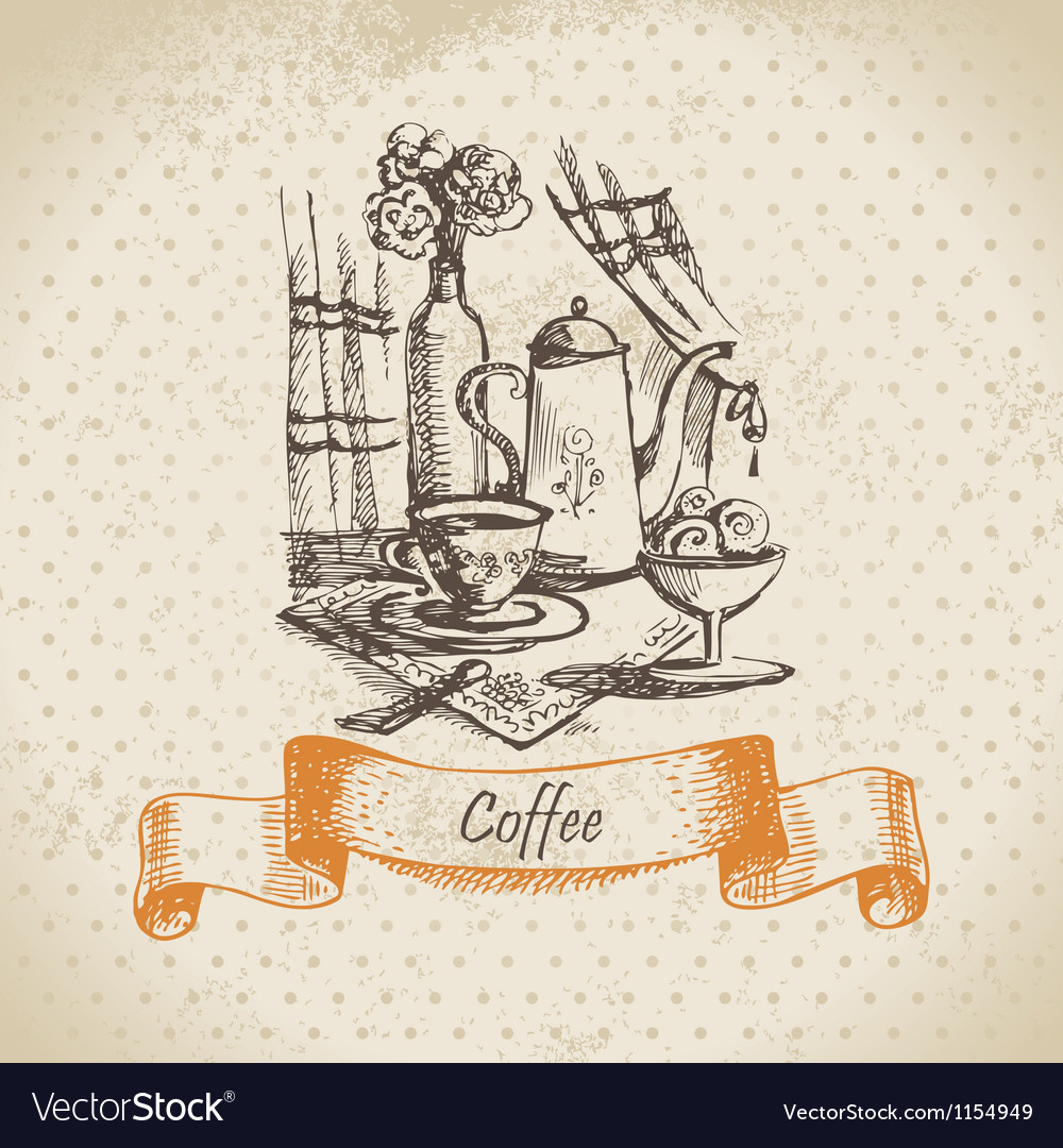 Still life with coffee vintage hand drawn vector | Price: 1 Credit (USD $1)