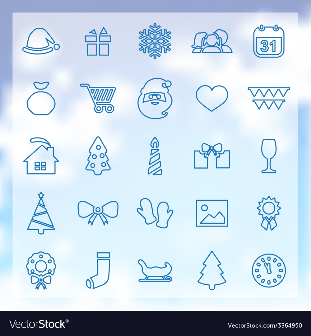 25 new year icons vector | Price: 1 Credit (USD $1)