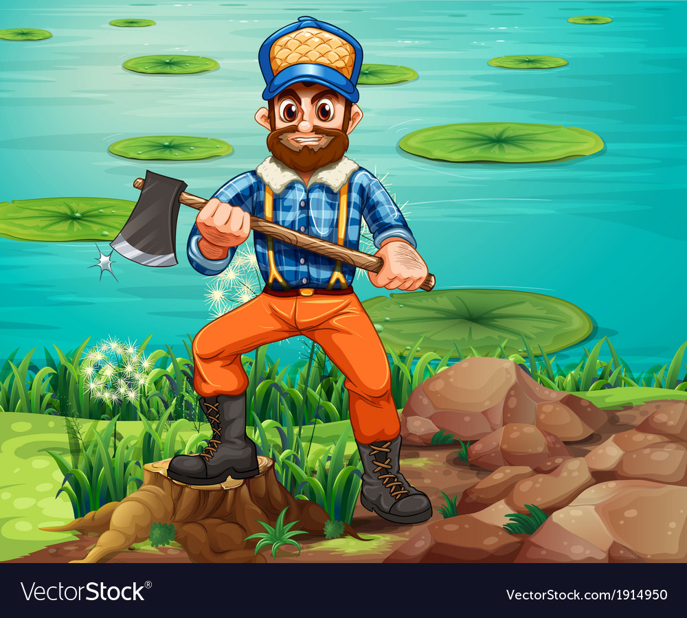 A lumberjack holding an axe at the riverbank vector | Price: 3 Credit (USD $3)