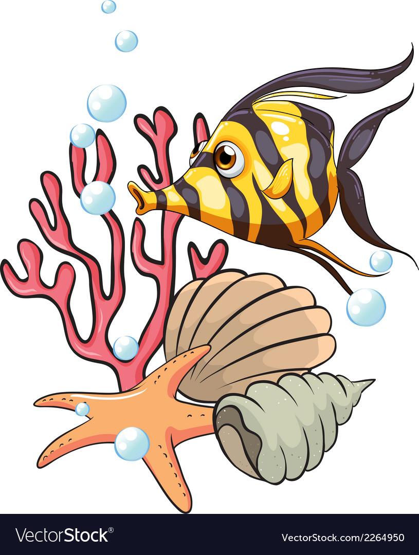 A stripe-colored fish under the sea vector | Price: 1 Credit (USD $1)