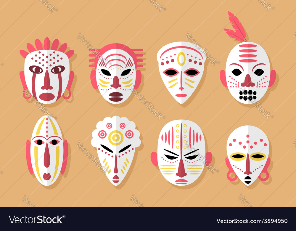 African mask icons vector | Price: 1 Credit (USD $1)