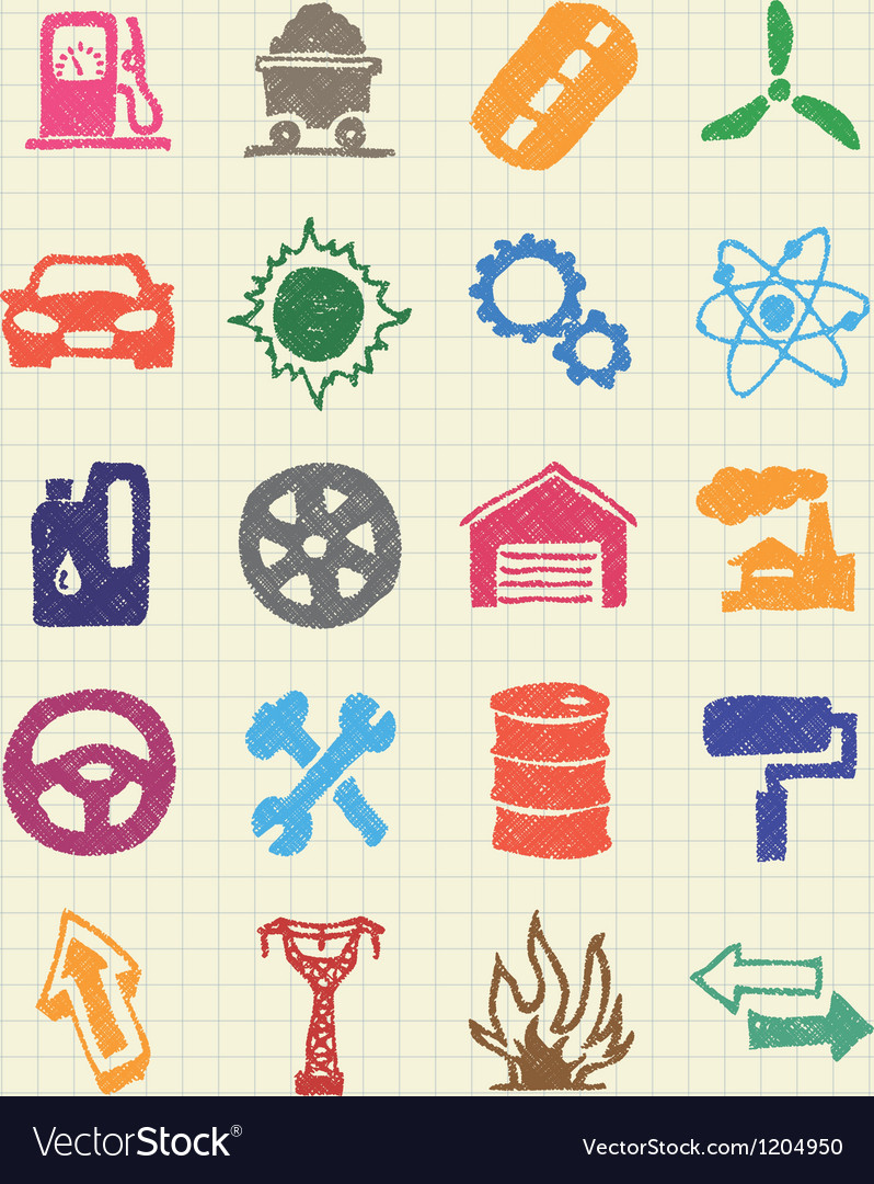 Auto and energy web icons set vector | Price: 1 Credit (USD $1)