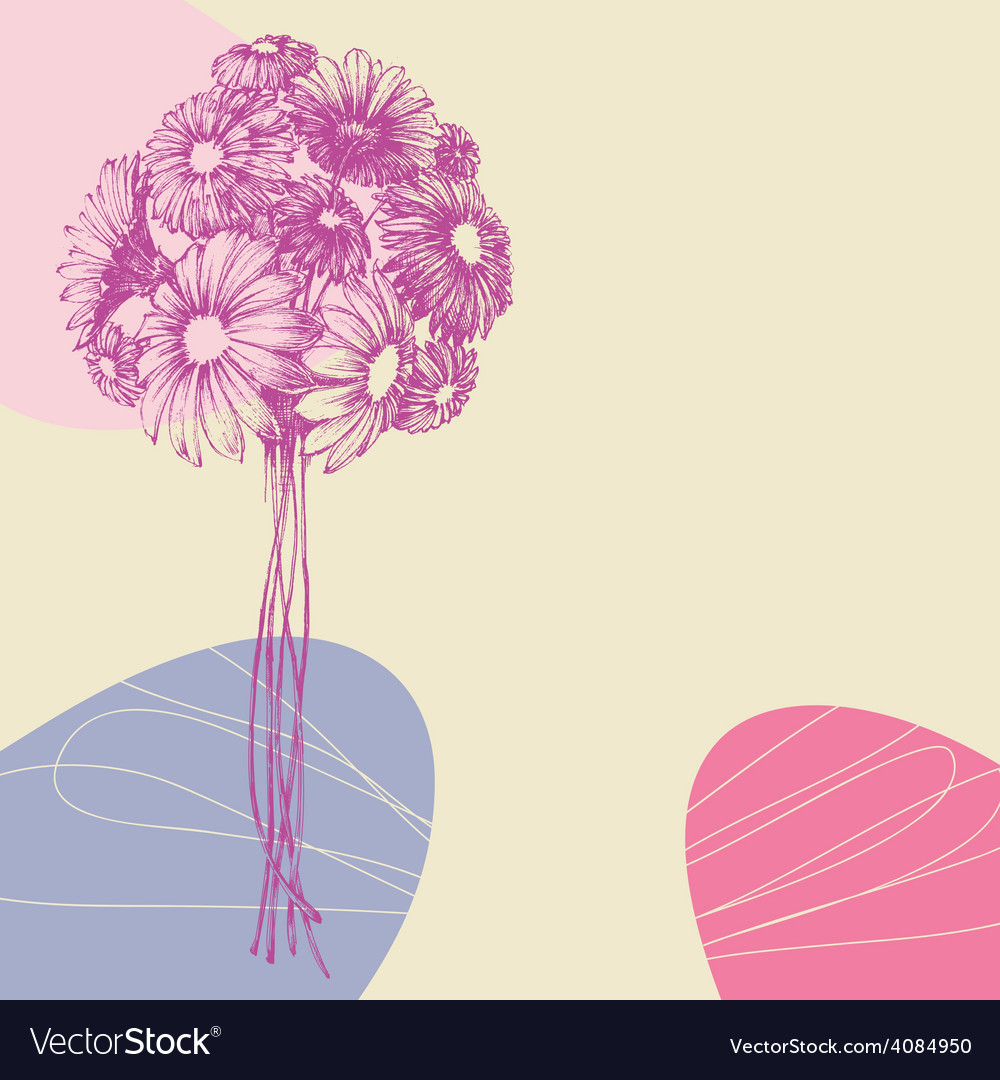 Bunch of flowers greeting card vector | Price: 1 Credit (USD $1)
