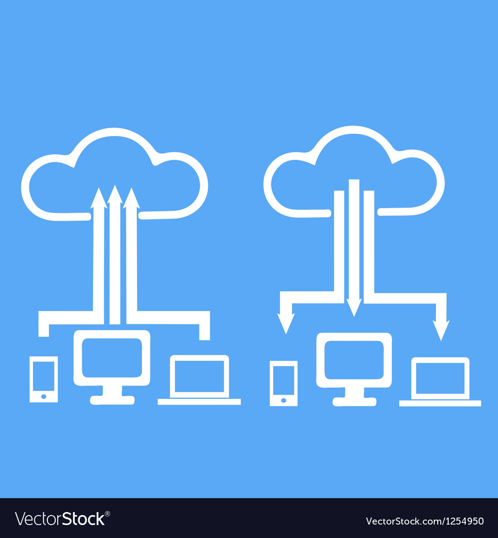 Cloud upload device vector | Price: 1 Credit (USD $1)