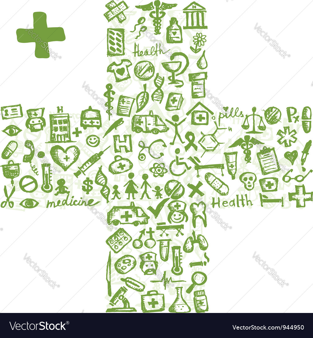 Cross shape with medical icons for your design vector | Price: 1 Credit (USD $1)