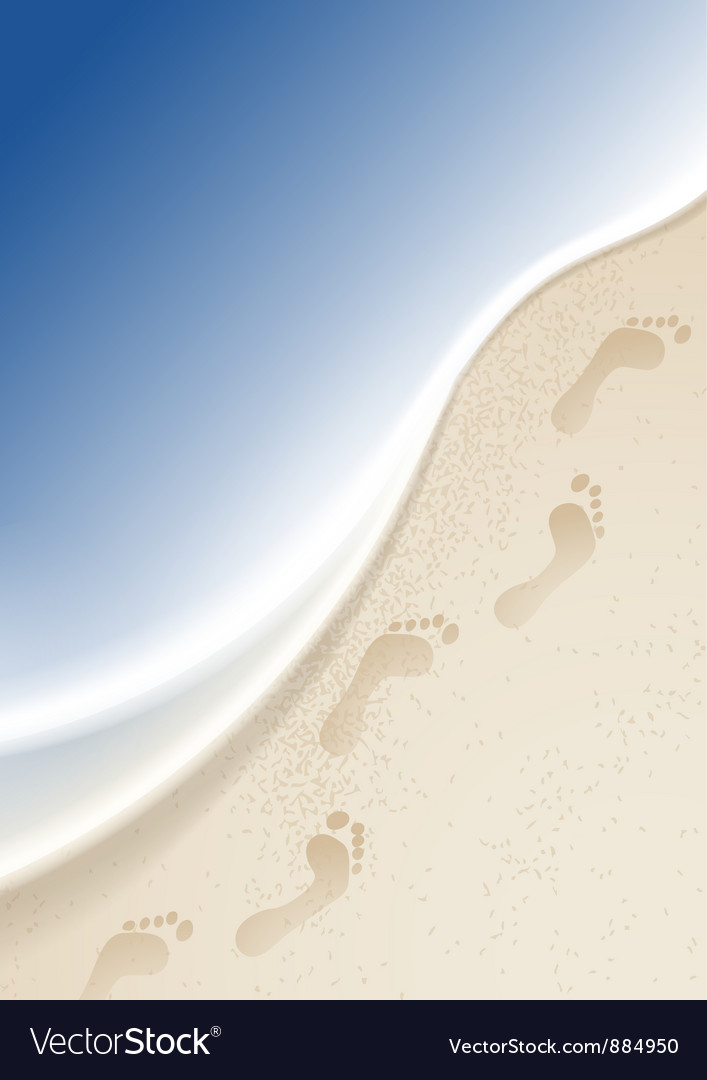 Footprints in the sand by the sea vector | Price: 1 Credit (USD $1)