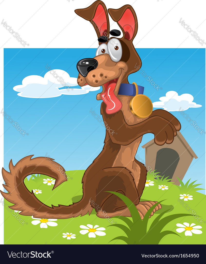 Friendly fun dog on background vector | Price: 3 Credit (USD $3)