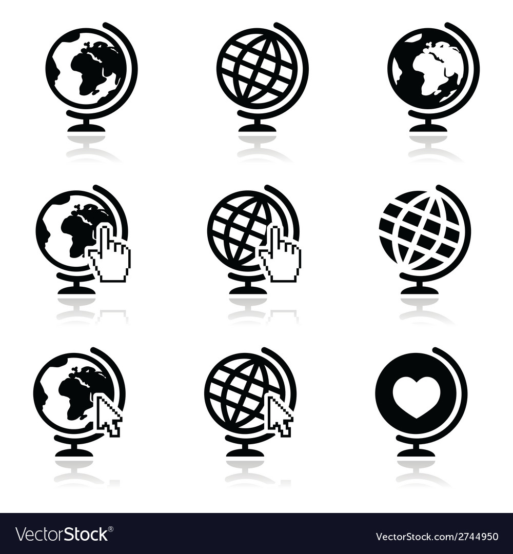 Globe earth icons with cursor hand and arro vector | Price: 1 Credit (USD $1)