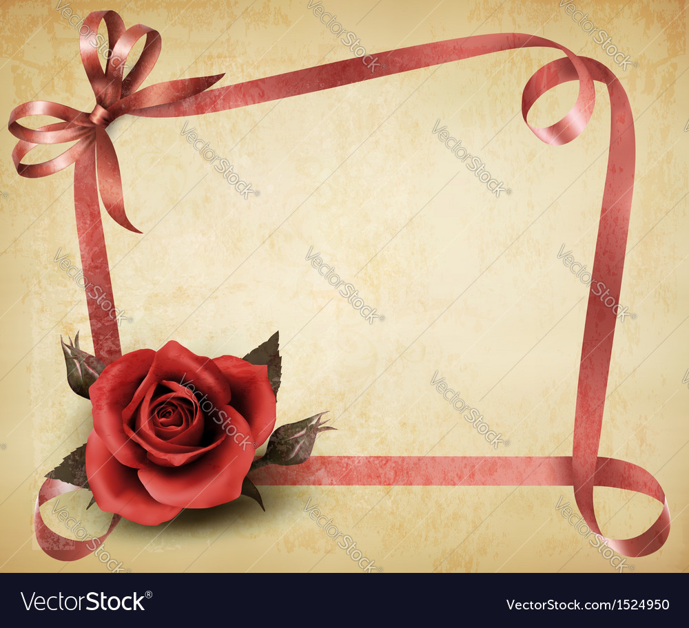 Retro holiday background with red rose and ribbons vector | Price: 1 Credit (USD $1)