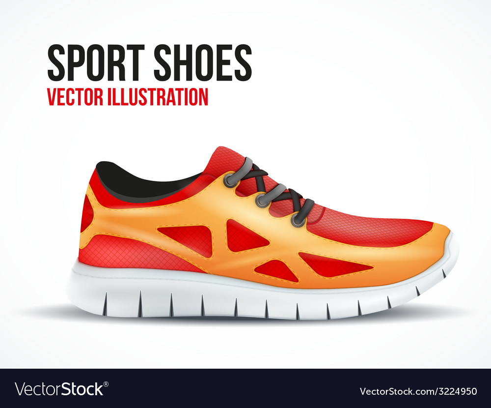 Running red shoes bright sport sneakers symbol vector | Price: 3 Credit (USD $3)