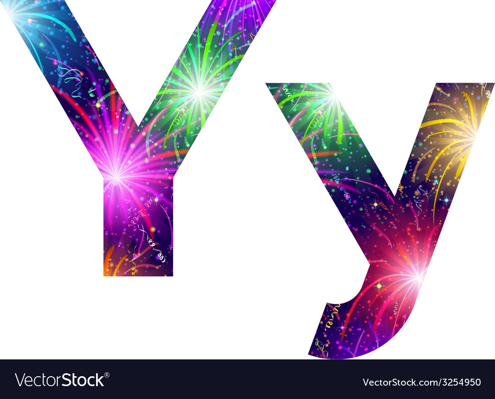 Set of letters firework y vector | Price: 1 Credit (USD $1)
