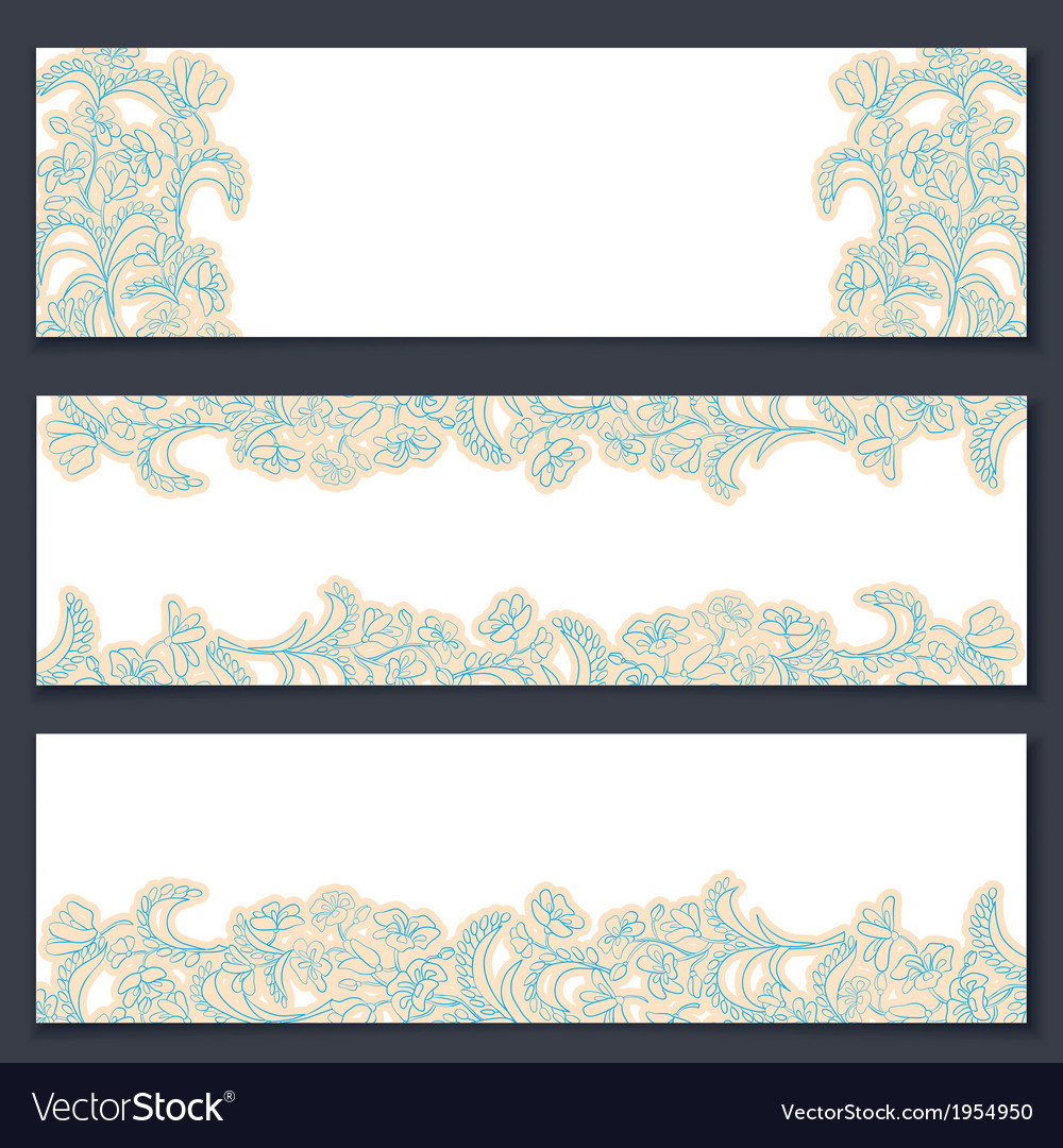 Set of three floral banners vector | Price: 1 Credit (USD $1)