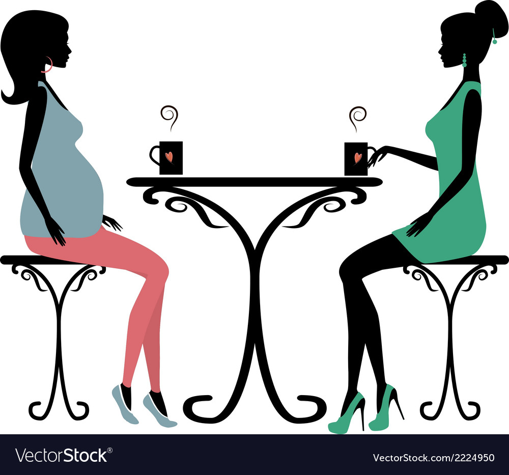 Silhouette of two fashionable women vector | Price: 1 Credit (USD $1)