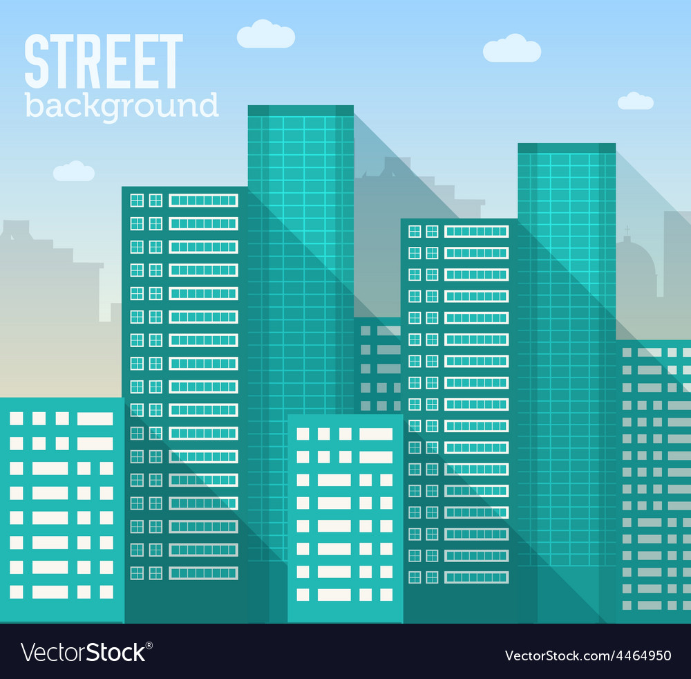 Skyscraper building in city space with road vector | Price: 1 Credit (USD $1)