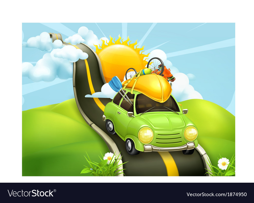 Traveling by car vector | Price: 3 Credit (USD $3)
