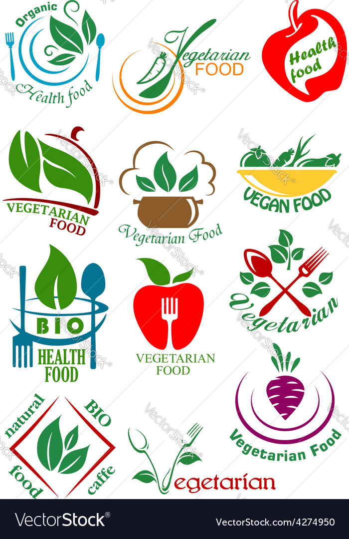 Vegetarian health food abstract design elements vector | Price: 1 Credit (USD $1)