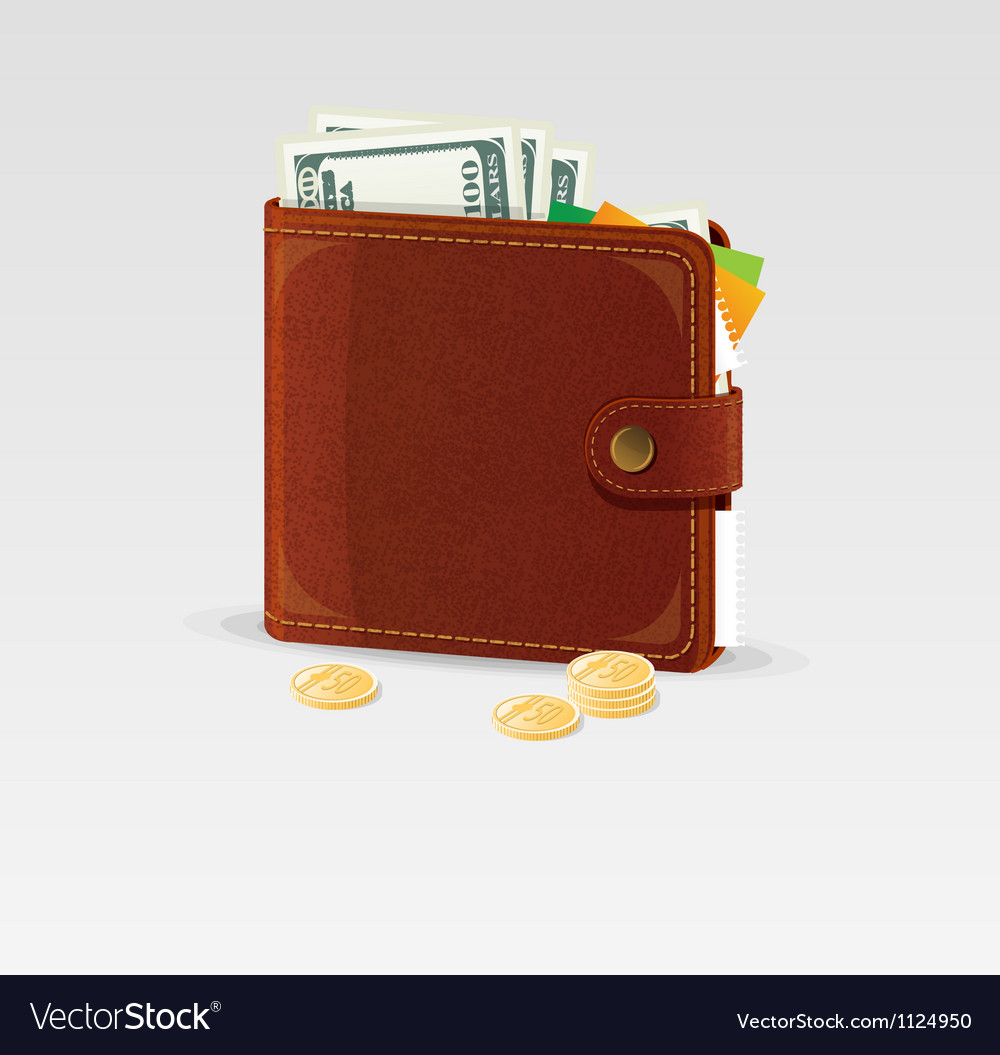 Wallet and coins isolated vector | Price: 1 Credit (USD $1)
