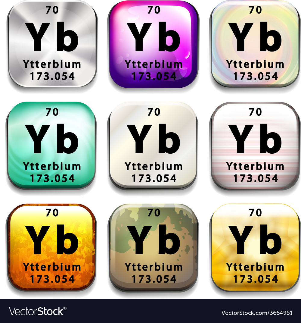 A periodic table button showing the ytterbium vector | Price: 1 Credit (USD $1)