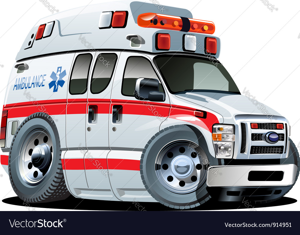 Cartoon ambulance car vector | Price: 3 Credit (USD $3)