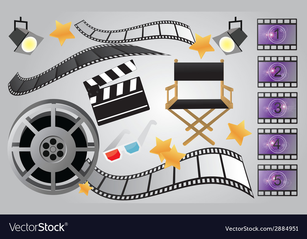 Collection of cinema or movie items vector | Price: 1 Credit (USD $1)