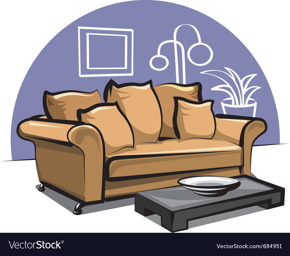 Couch with pillows and table vector | Price: 3 Credit (USD $3)