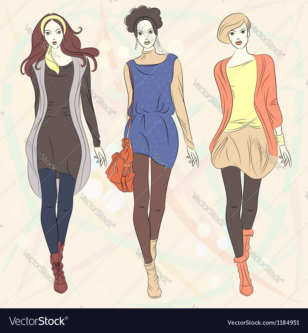 Fashion girls top models vector | Price: 3 Credit (USD $3)