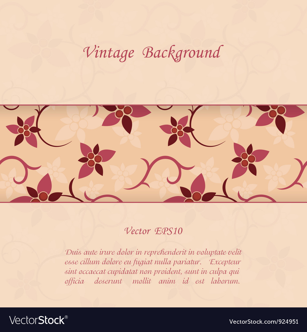 Floral vintage background vector | Price: 1 Credit (USD $1)