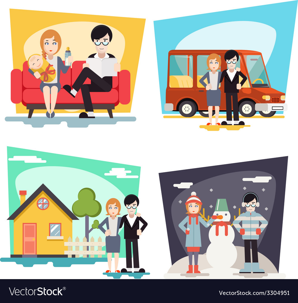 Happy family geek hipster characters life vector | Price: 3 Credit (USD $3)
