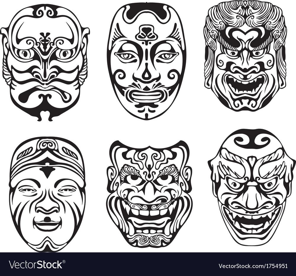 Japanese nogaku theatrical masks vector | Price: 1 Credit (USD $1)