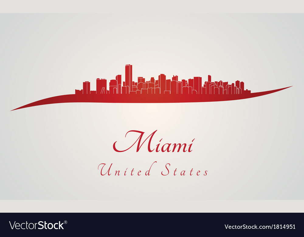 Miami skyline in red vector | Price: 1 Credit (USD $1)