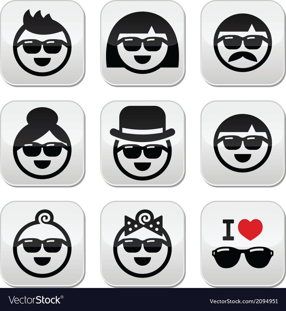 People wearing sunglasses holidays icons set vector | Price: 1 Credit (USD $1)
