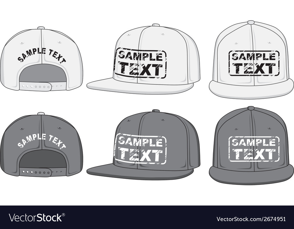 Rap cap front back and side view vector | Price: 1 Credit (USD $1)