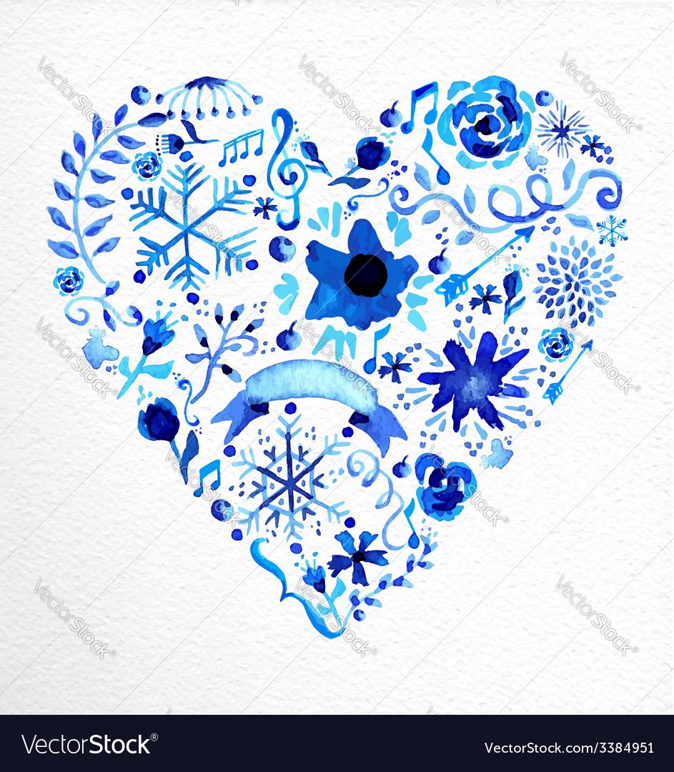 Watercolor heart love shape vector | Price: 1 Credit (USD $1)