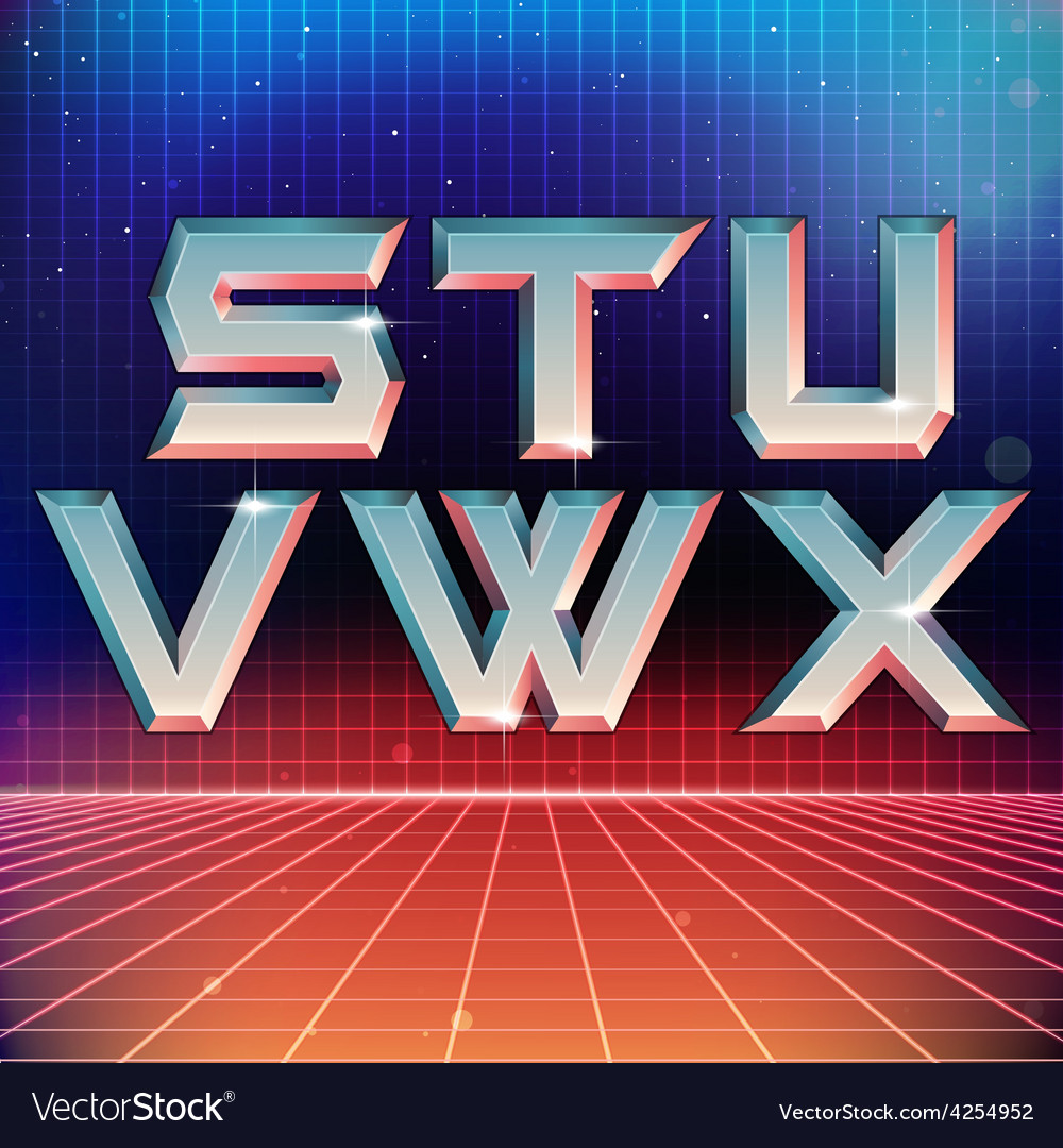 80s retro futuristic font from s to x vector | Price: 1 Credit (USD $1)