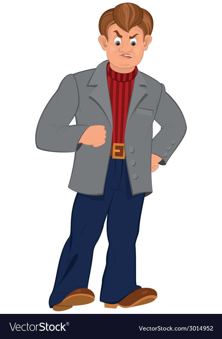 Cartoon angry man in gray jacket vector   Price: 1 Credit (USD $1)