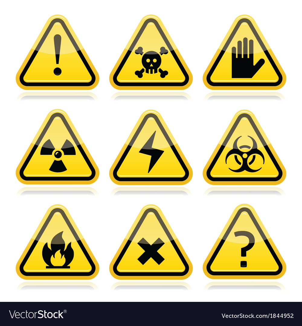 Danger risk warning modern traingle signs set vector | Price: 1 Credit (USD $1)
