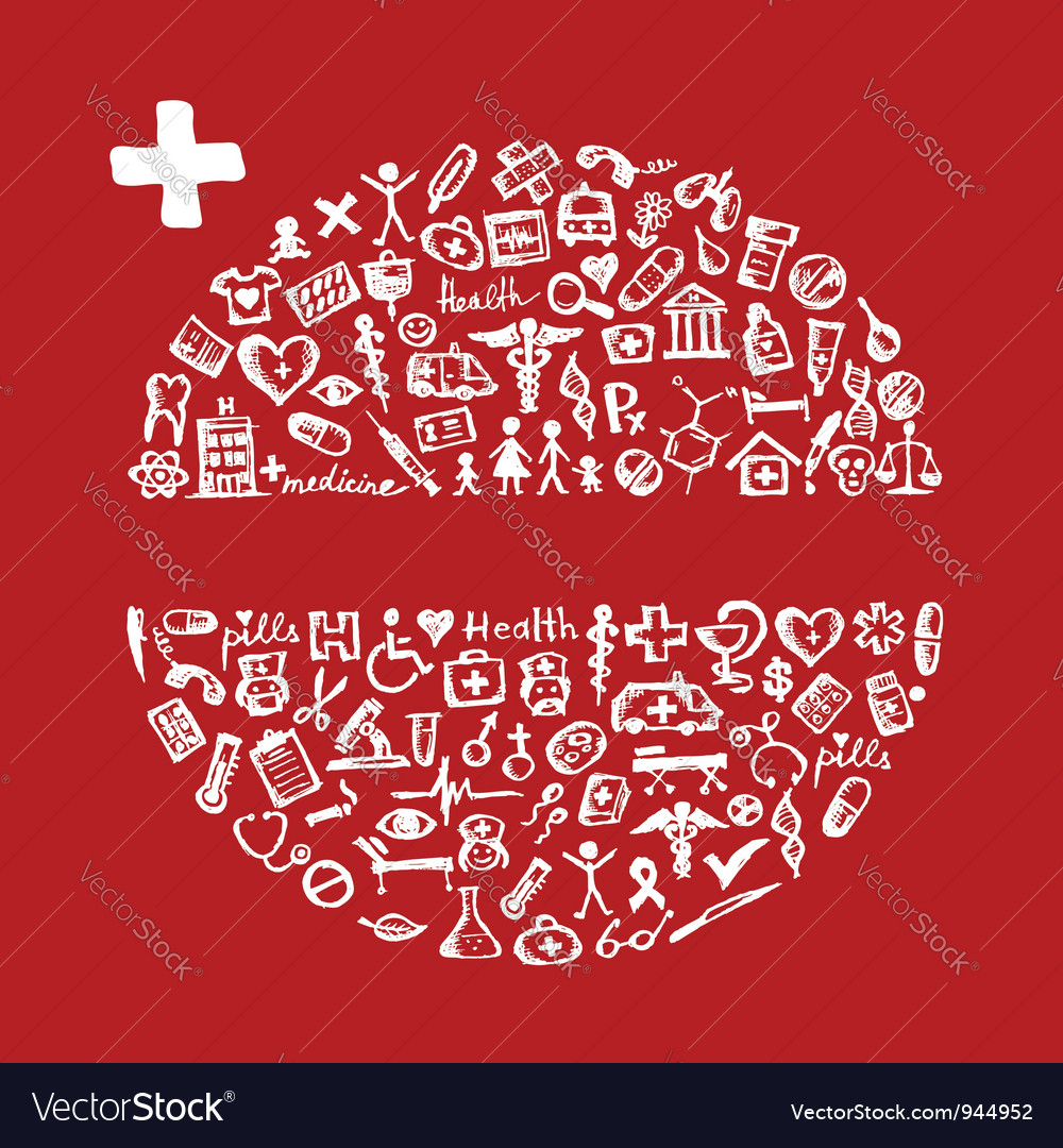 Frame with medical icons for your design vector | Price: 1 Credit (USD $1)