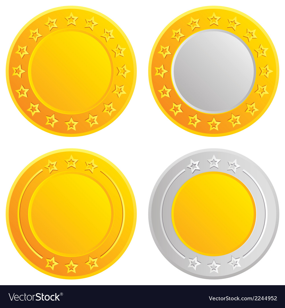 Gold and silver coins cash with stars template vector | Price: 1 Credit (USD $1)